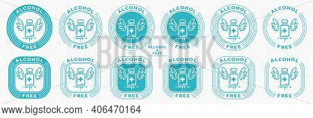 A Set Of Conceptual Stamps For Packaging Products. Labeling - Alcohol Free. Stamp With The Symbol Of