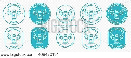 A Set Of Conceptual Stamps For Packaging Products. Labeling - Alcohol Free. Stamp With A Flat Icon O