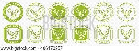 A Set Of Conceptual Stamps For Packaging Products. Labeling - No Additives. Stamp With The Symbol Of
