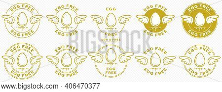A Set Of Conceptual Stamps For Packaging Products. Labeling - No Eggs. A Round Stamp With Wings - A