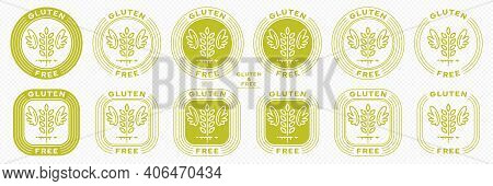 Conceptual Stamps For Product Packaging. Labeling - Gluten Free. A Stamp With A Grain Spikelet Icon,