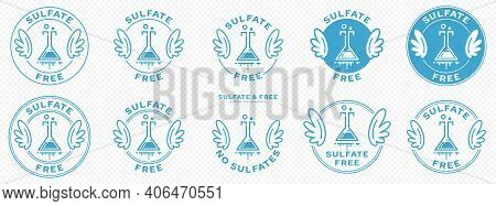 A Set Of Conceptual Stamps For Packaging Products. Labeling - Sulfate Free. A Stamp With Wings Is A