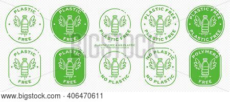 A Set Of Conceptual Stamps For Packaging Products. Marking - No Plastic. Stamp With A Flat Icon Of A