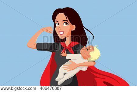 Super Mom Holding Newborn Baby Wearing A Cape