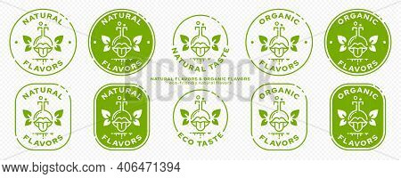 Conceptual Marks For Product Packaging. Labeling - Organic Flavors. The Brand With The Flask-mouth I