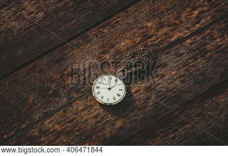 Pocket Watch On Old Wooden Background With Copy Space, Time Concept And Work