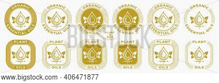 Conceptual Stamps For Product Packaging. Marking - Essential Oil. Butter Potassium With Natural Leaf