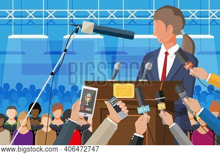 Public Speaker. Rostrum, Tribune And Hands Of Journalists With Microphones And Digital Voice Recorde
