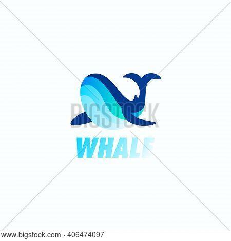 Unique Blue Whale Logo Icon Design Concept Vector
