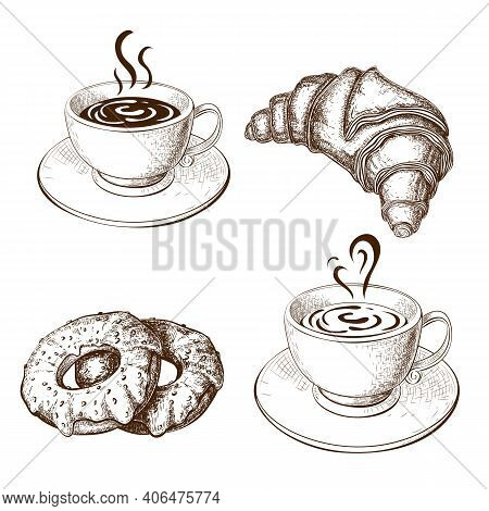 Coffee Cups, Croissant, Donuts Drawing, Vector Illustration Isolated On White. Sketch Of Hot Cup Of