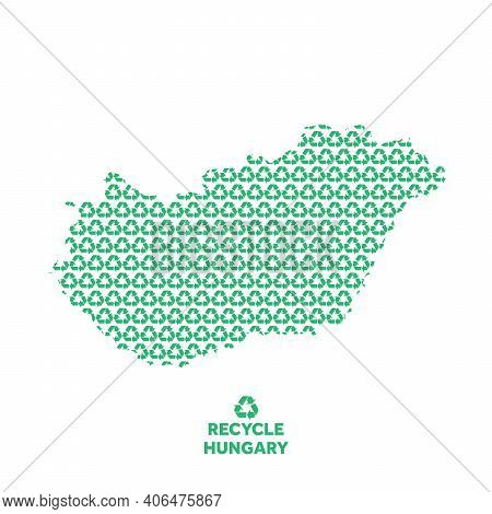 Hungary Map Made From Recycling Symbol. Environmental Concept