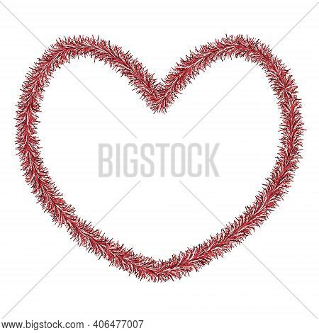 Heart. Plush Love Symbol Made Of Tinsel. Colored Vector Illustration. Isolated White Background. Val