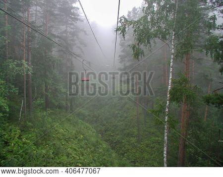 Fog In The Belokurikha Mountains In The Altai Territory