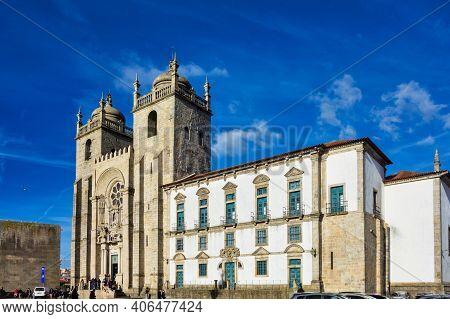 Porto, Portugal - Apr 01, 2020: View Of The Old City Center Of Porto, Oporto In Portugal, Europe