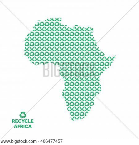 Africa Map Made From Recycling Symbol. Environmental Concept