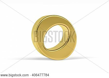 Golden Indian Numeral - Three Dimensional Indian Numeral On White Background - Translation: Digit