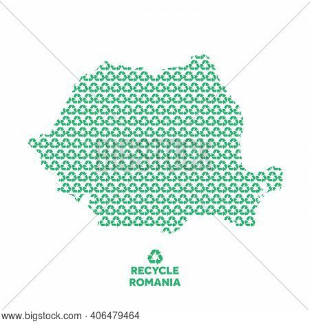 Romania Map Made From Recycling Symbol. Environmental Concept