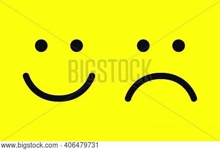 Happy And Sad Face Icons. Smiling. Face Symbols. Flat Style. Vector Illustration.