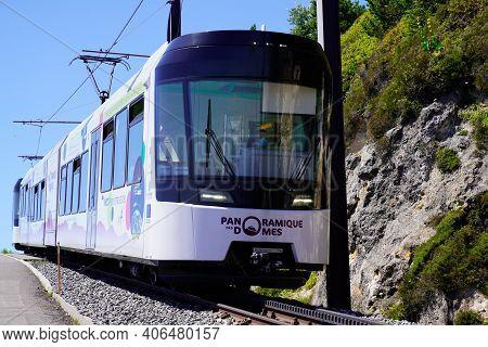 Orcines , Puy De Dôme  France - 02 02 2021 : Panoramique Des Domes Cogwheel Train In Mountain Auverg
