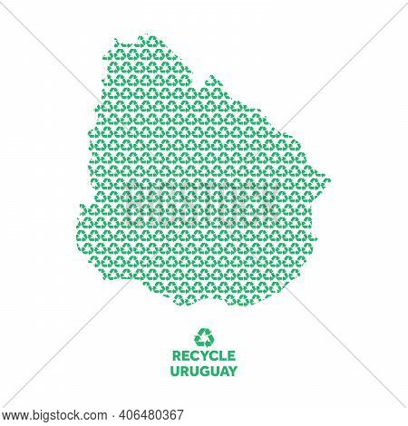 Uruguay Map Made From Recycling Symbol. Environmental Concept