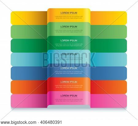 7 Data Infographics Tab Paper Index Template. Vector Illustration Abstract Background. Can Be Used F