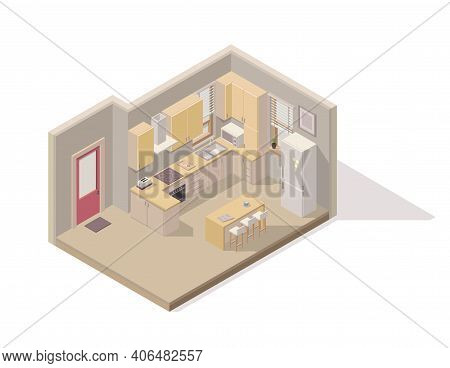 Vector Isometric Element Representing Kitchen/dining Room/. Room Includes Kitchen Cabinets, Refriger