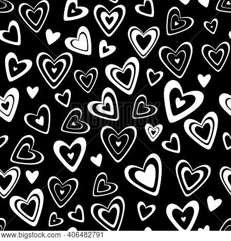 Seamless Vector Pattern. Many Different Black With White Hearts In A Scatter Isolated On A Transpare