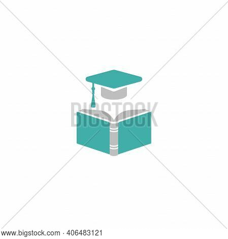 Blue Open Book With Graduation Cap Or Mortar Board. Isolated On White Background. Flat Reading Icon.