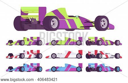 Sport Car High Speed Motor Race Set In Championship Design. Autocross Fantastic Competition Vehicles