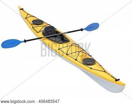Yellow Plastic Kayak With Blue Paddle Isolated On White Background - 3d Illustration
