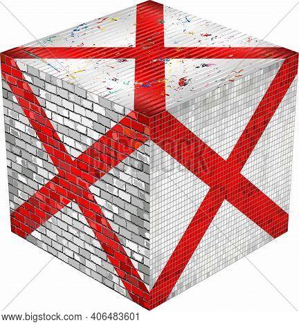 Alabama Cube - Illustration,  Abstract Grunge Mosaic Flag Of Alabama