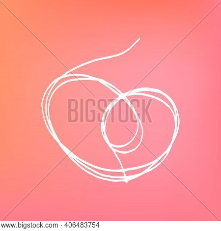 Set Of Traced Thread Hearts For Valentines Day Decoration. Symbol Of Romantic Love. Outline Abstract