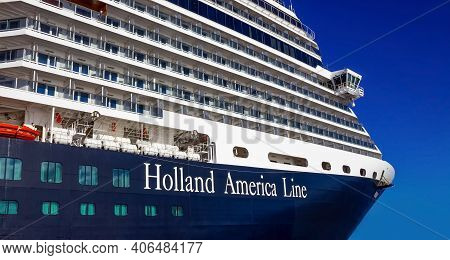 Half Moon Cay Island, Bahamas - December 2, 2019: Holland America Cruise Ship Eurodam Docked At Sea