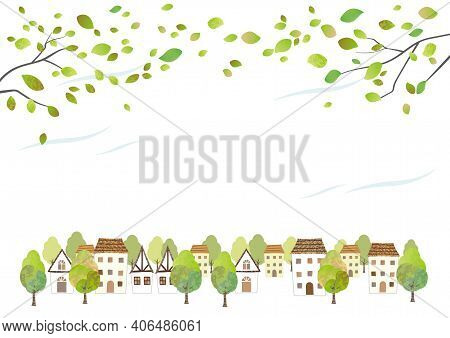 Idyllic Watercolor Townscape With Young Leaves Isolated On A White Background. Vector Illustration W