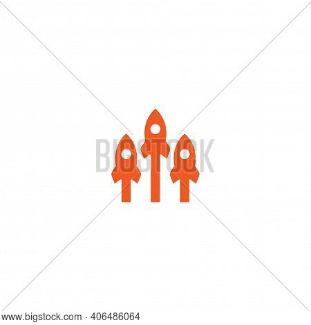 Three Red Arrows Up With Rocket Icon. Isolated On White. Launch Icon. Upgrade Sign. Fast Growth Symb