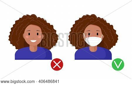Mask Required. No Entry Without Wearing A Mask. Black Afro American Woman Female Avatar With And Wit