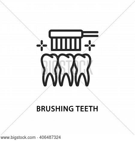 Brushing Teeth Flat Line Icon. Vector Illustration Teeth Cleaning