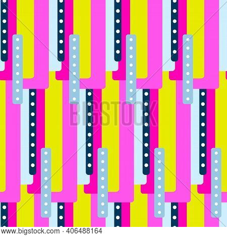 Abstract Creative Seamless Pattern With Bright Neon Shapes. Vector Vibrant Texture With Geometric Fi