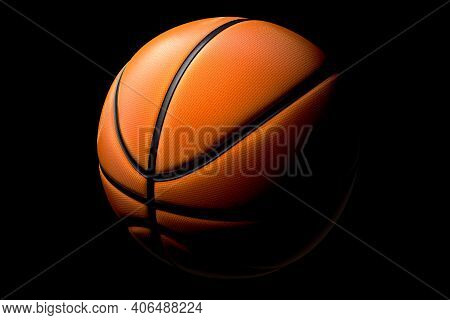 Basketball Ball Isolated On Black Background. 3d Rendering Of Sport Accessories For Team Playing
