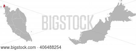 Perlis State Isolated On Malaysia Map. Gray Background. Business Concepts And Backgrounds.