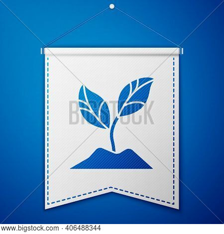 Blue Plant Icon Isolated On Blue Background. Seed And Seedling. Leaves Sign. Leaf Nature. White Penn