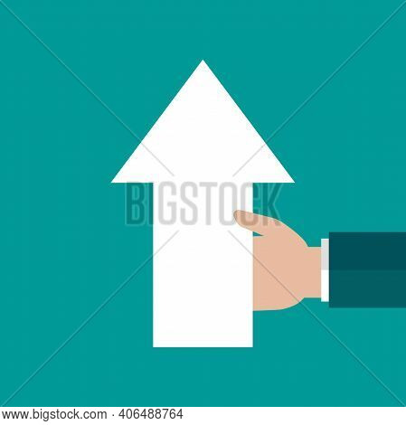 Businessman Hand Holds Arrow Up Isolated On Turquoise Background. Navigation, Pointing, Showing, Gro