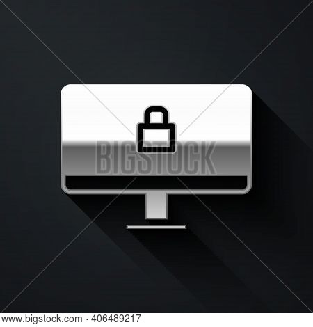 Silver Lock On Computer Monitor Screen Icon Isolated On Black Background. Security, Safety, Protecti