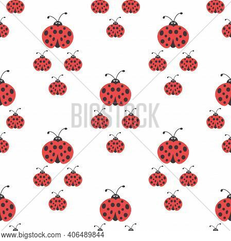 Seamless Ladybug Family Walking Ornament. Red And Black Ladybugs On White Background. Bright Summer