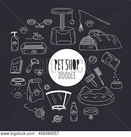 Big Doodle Set With Pets Stuff And Supply Icons Set On Black Background. Vector Illustration In Hand