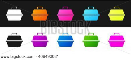 Set Pet Carry Case Icon Isolated On Black And White Background. Carrier For Animals, Dog And Cat. Co
