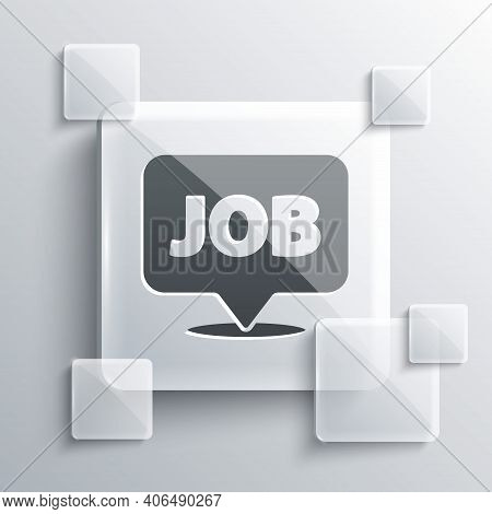 Grey Speech Bubble With Job Icon Isolated On Grey Background. Recruitment Or Selection Concept. Sear