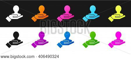 Set Hand For Search A People Icon Isolated On Black And White Background. Recruitment Or Selection C