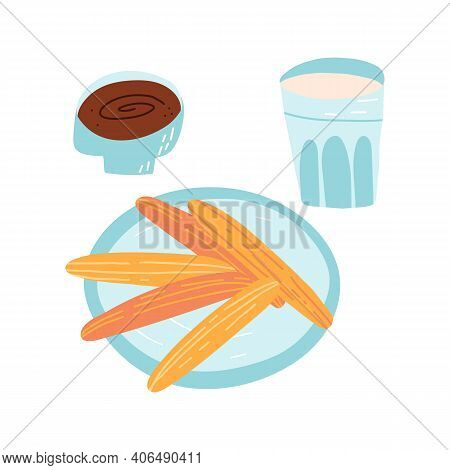 Tradition Spanish, Portuguese Dessert Set. A Pastry Sweet Snack On A Dish, Chocolate Dip In A Bowl A