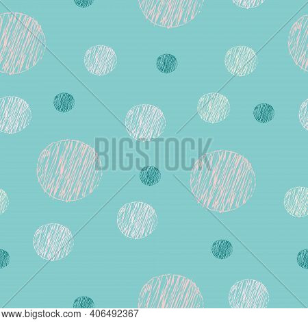Seamless Pattern With Abstract Hand Drawn Dotty Polka Dot Shapes Background. Scandinavian Geometric